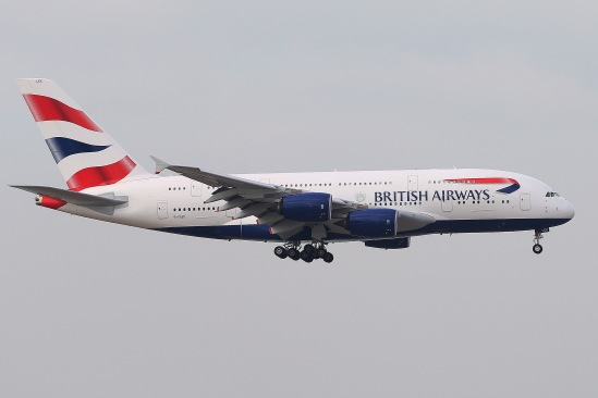 British Airways Airbus A380-841 (G-XLEC) landing on RWY07L of Hong Kong International Airport.