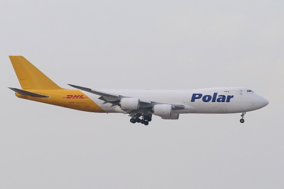 Polar Air Cargo Boeing 747-87UF (N851GT) landing on RWY07L of Hong Kong International Airport.