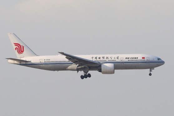Air China Boeing 777-2J6 (B-2068) landing on RWY07L of Hong Kong International Airport.